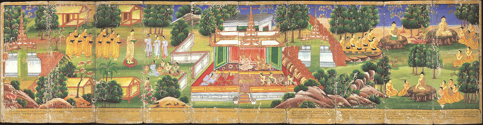 A panorama of scenes from the Buddha's life, from a Burmese parabaik or picture book. Bodleian MS. Burm. a. 12 Life of Buddha 03-12.jpg