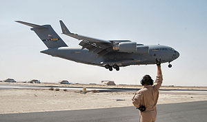 6th Airlift Squadron - 6th Airlift Squadron C-17A Globemaster III 03-3126 landing at an airfield in Iraq