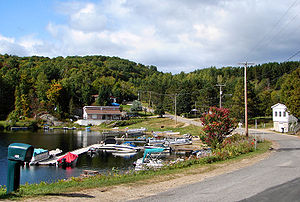Boileau, Quebec - Little marina on the north end of Lake Papineau.