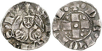 Pope Gregory XI - A bolognino of Gregory XI.
