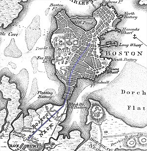 South Boston - Dorchester neck can be seen on this early map of Boston in the lower right.