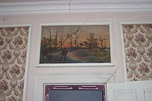 Bostwick (Bladensburg, Maryland) - Overmantel painting inside the house.  Note cracks and other damage to the wall.