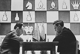 Vasily Smyslov - Botvinnik vs. Smyslov (right) at the World Chess Championship 1957