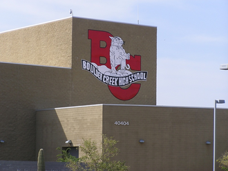 Boulder Creek High School - View of the school from parking lot