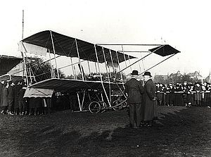 Bristol Boxkite - Boxkite at Durdham Down. Sir George White is standing in front of the aircraft.