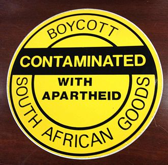 Disinvestment from South Africa - Boycott - Contaminated with apartheid - South African goods - 12 inch sticker used by activists, from the collection of the Library of Congress
