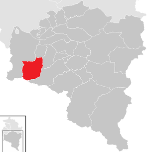Location of the municipality of Brand (Vorarlberg) in the Bludenz district (clickable map)