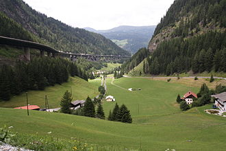 Brenner Pass - View between the top of the pass and Gries am Brenner