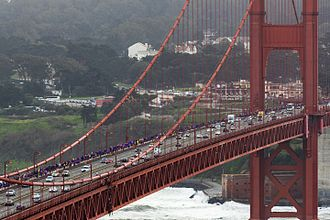 Protests against Donald Trump - Several thousands of people, many of them dressed in purple formed a human chain on the sidewalk across the Golden Gate Bridge to peacefully oppose the inauguration of Donald Trump.