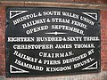 Bristol & South Wales Union Railway - plaque at Bristol Temple Meads.jpg