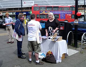 Campaigning in the United Kingdom European Union membership referendum, 2016 - Britain Stronger in Europe campaigners, London, June 2016.