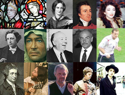 1. sor: Aidan of Lindisfarne, Szent Kolumba, Charlotte Brontë, Arthur Wellesley, Kate Bush 2. sor: Lewis Carroll, Peter O'Toole, Alfred Hitchcock, Sean Connery, Wayne Rooney 3. sor: Edmund Burke, John Lennon, Anthony Hopkins, Noel Gallagher, Pete Doherty
