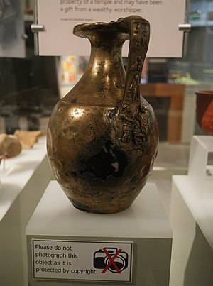 Copyfraud -  2nd century bronze jug held by British Museum, with false copyright claim, while on loan to Tullie House Museum