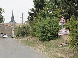 Brocourt-en-Argonne (Meuse) city limit sign (02).JPG