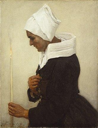 "Jules Breton - ""Breton Peasant Woman Holding a Taper"" by Jules Breton"