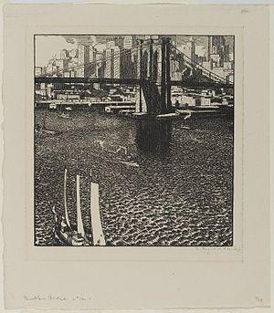 Rudolph Ruzicka - Brooklyn Bridge by Rudolph Ruzicka