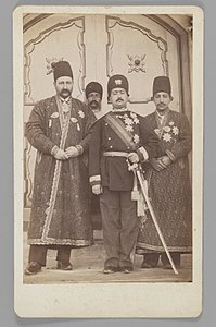 Brooklyn Museum - Mohammad 'Ali Shah with Mirza Mohammad Ebrahim Khan the Moavin al-Dowleh and Company One of 274 Vintage Photographs.jpg