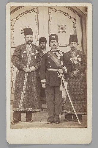 Mohammad Ali Shah Qajar - Mohammad Ali Shah Qajar with Mirza Mohammad Ebrahim Khan, the Moavin al-Dowleh, and Company