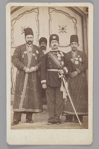 File:Brooklyn Museum - Mohammad 'Ali Shah with Mirza Mohammad Ebrahim Khan the Moavin al-Dowleh and Company One of 274 Vintage Photographs.jpg