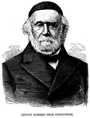 Bror Cederström - Cederström in older age. Woodcut by Ida Falander.