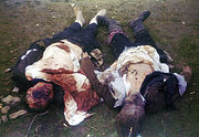 The corpses of 2 SS Totenkopfverbände guards killed soon after the liberation of Ohrdruf concentration camp.