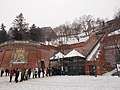 Budapest Castle Hill Funicular. Lower station on a snowy day. - Hungary.JPG