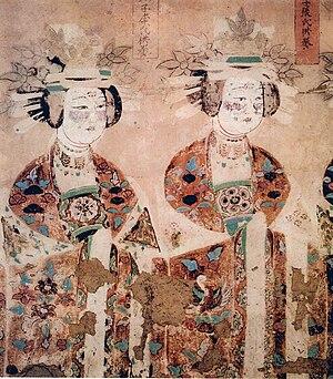 Five Dynasties and Ten Kingdoms period - Buddhist donatresses, Cave 98, Mo-kao Caves, Tunhwang, Five Dyasties era