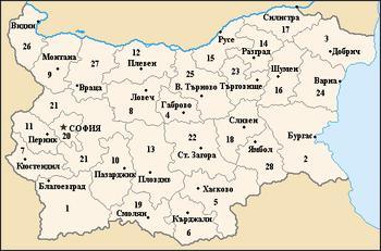 """О болгарии  """" Карта административного деления Болгарии."""