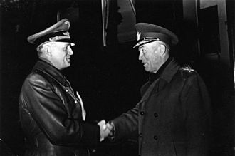Ion Antonescu - Antonescu (right) being greeted by Foreign Minister Joachim von Ribbentrop during a 1943 visit to Germany