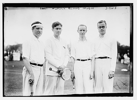 Thomas Bundy, Maurice Evans McLoughlin, Gustave F. Touchard and Watson Washburn circa 1914-1915 Bundy, McGloughlin, Touchard, Washburn.jpg