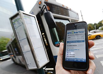Metropolitan Transportation Authority - MTA Bus Time app on an iPhone.