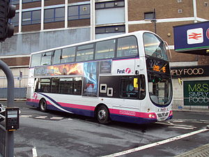 City of Leeds - Bus outside Leeds railway station, 2010