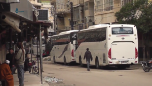 2015 Zabadani cease-fire agreement - Buses prepare to transport people out of Madaya as part of the agreement on 14 April 2017