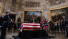 George H. W. Bush's remains lie in state in the United States Capitol rotunda on December 3, 2018