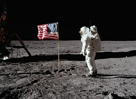 Apollo 11: Buzz Aldrin on the Moon, 1969 Buzz salutes the U.S. Flag-crop.jpg