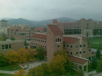 CU Boulder buildings: Folsom Field and Math bu...