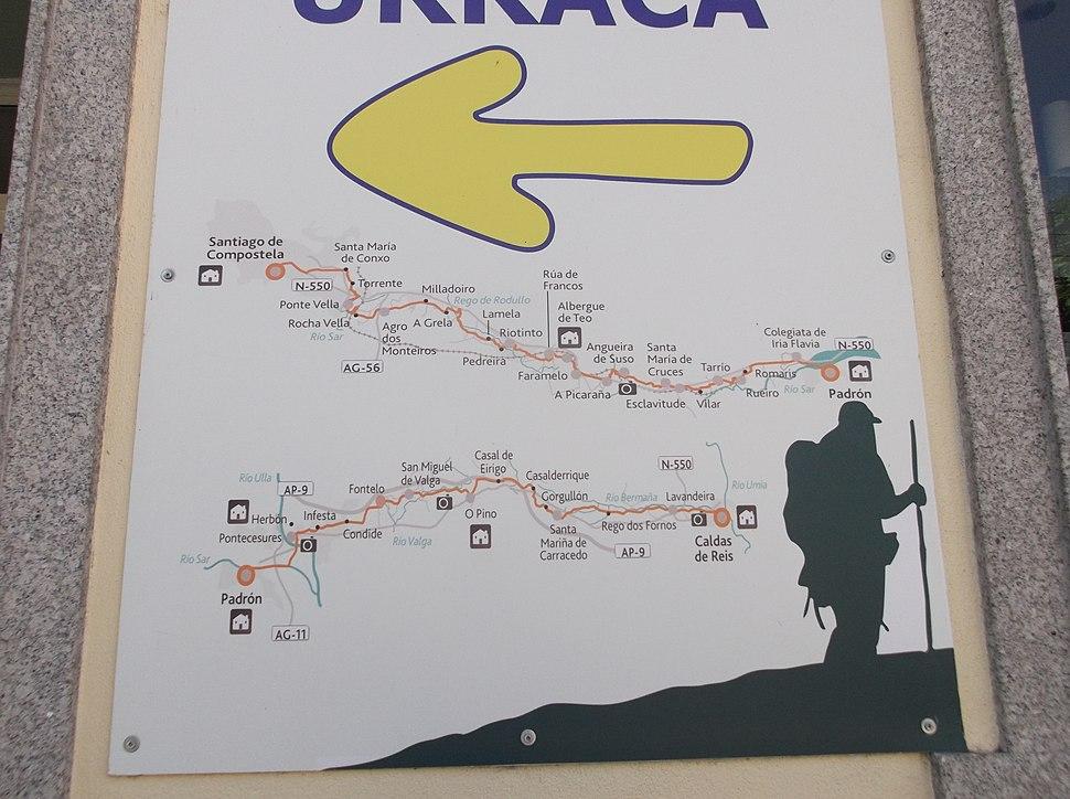 Mapa do Camiño, no albergue de Caldas.