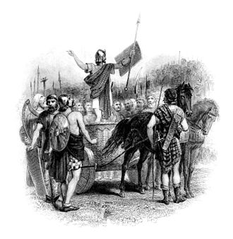 Calgacus - 19th century print depicting Calgacus delivering his speech to the Caledonians.
