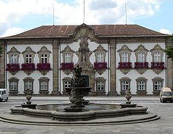 Municipality of Braga and Fountain of the Pelican. Both were built in the 18th century.