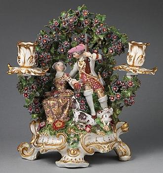 Bocage - Chelsea porcelain candle-holder with bocage background, c. 1765