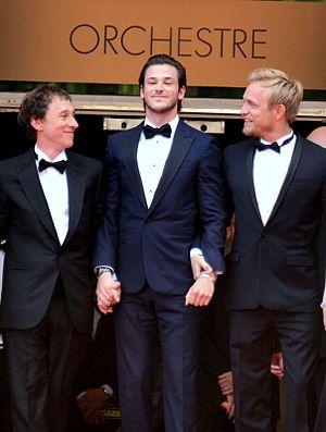 Saint Laurent (film) - Bertrand Bonello, Gaspard Ulliel and Jérémie Renier promoting the film at the 2014 Cannes Film Festival.