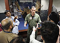 Capt. Craig Clapperton participates in an interview with the press during Exercise Malabar 2015.JPG