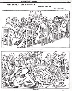 """This cartoon of a French family dinner by caricaturist Caran d'Ache illustrates the divisions in French society during the Dreyfus affair. In the top panel, the host says, """"Above all, let us not speak of the Dreyfus affair!"""" The bottom panel shows the dinner party in disorder: """"They have spoken of it."""""""