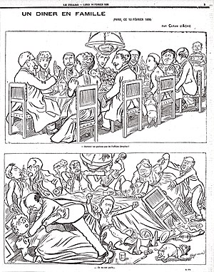 "Caran d'Ache - Caran d'Ache's most famous cartoon. The Dreyfus Affair divided the whole of French society. Here, Caran d'Ache depicts a fictional family dinner. At the top, somebody remarks ""Let's not discuss the Dreyfus Affair!"". At the bottom, the family is fighting and the caption reads, ""They discussed it."""