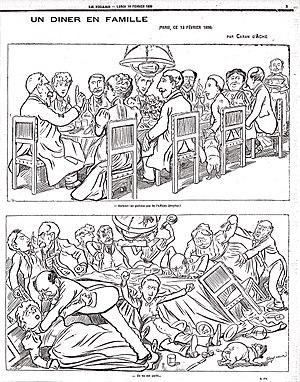 Caricatura de una familia francesa en una cena, que ilustra las divisiones de la sociedad francesa en elCaso Dreyfus. En el panel superior, el anfitrión dice: «Por encima de todo, no debemos hablar del Caso Dreyfus!». El panel inferior muestra la cena en gran desorden: «Ellos han hablado de él», por el caricaturistaCaran d'Ache,Le Figaro, 14 de febrero de 1898.