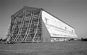 Cardington, Bedfordshire - One of the two Cardington Sheds, with people in the foreground for scale.