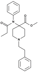 Chemical structure of carfentanil.