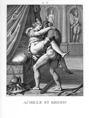 Achilles and Briseis - Jacques Joseph Coiny's engraving, after Agostino Carracci's interpretation of the original painting.