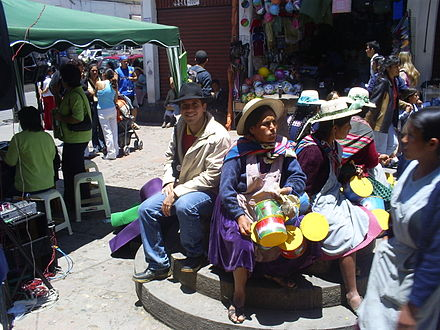 People in La Paz city centre Centro de La Paz en Bolivia.JPG
