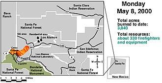 Cerro Grande Fire - Image: Cerro Grande May 8 2000 GAO Fire Progression